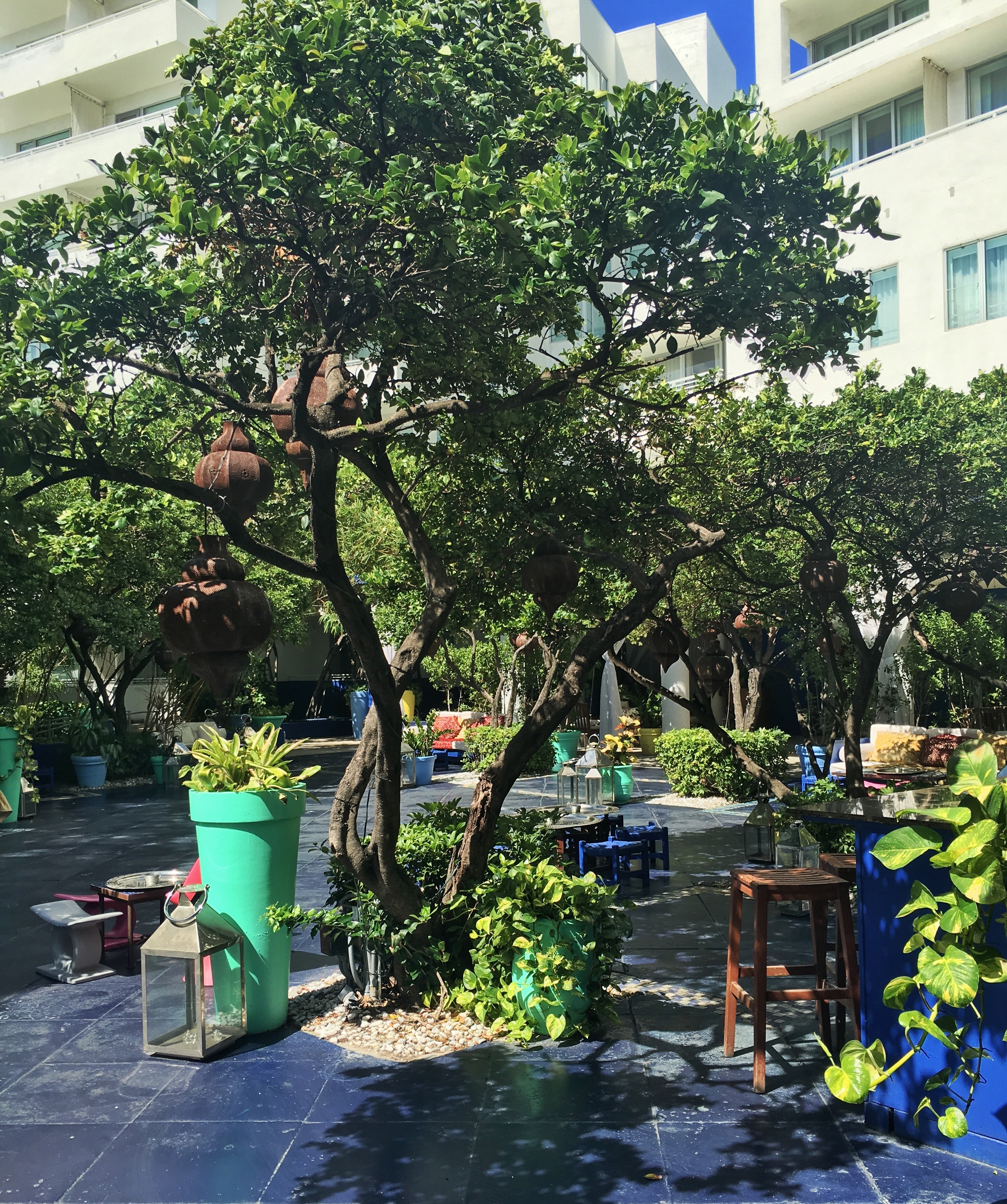 Outdoor decor at Terraza at The Shore Club Hotel in South Beach, Miami.