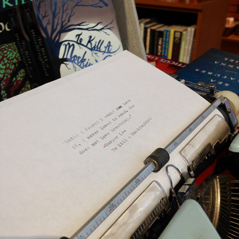 A typewriter on display at Astoria Book Shop in Astoria, Queens
