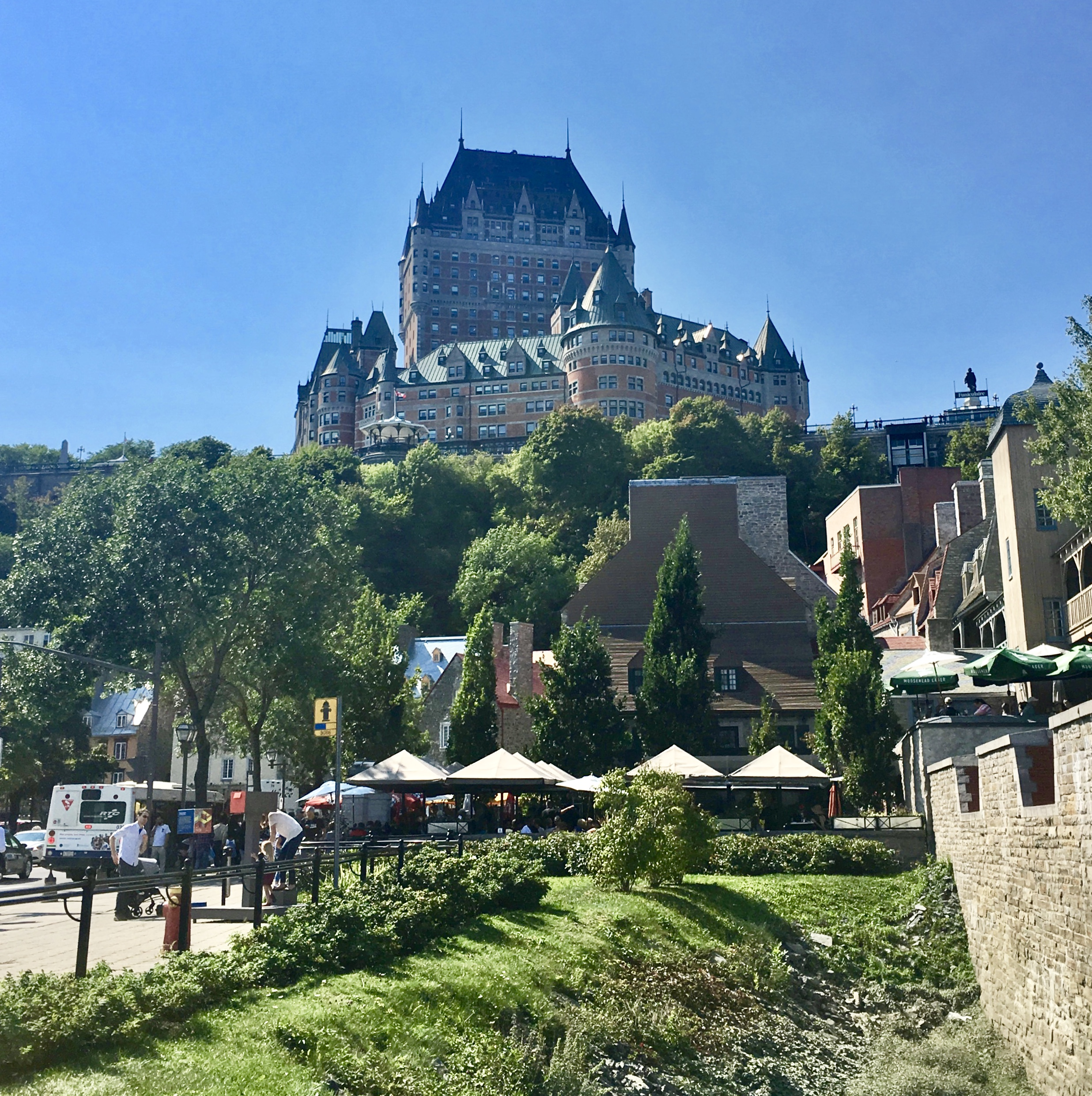 a view of Chateau Le Frontenac in Old Quebec City, Canada