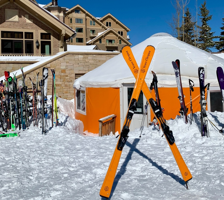 The Veuve Cliquot-themed Après Lounge outside of Montage in Deer Valley, Utah