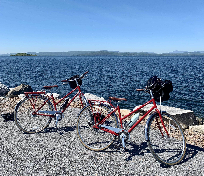 two bikes on the causeway along Lake Champlain