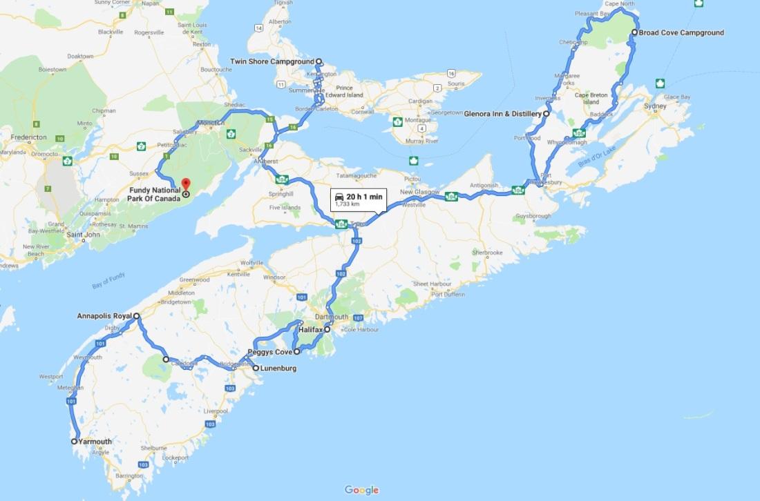 map of Nova Scotia and PEI road trip.