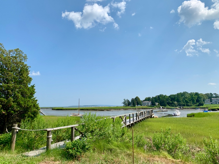 a dock extending into the water in Duxbury, MA