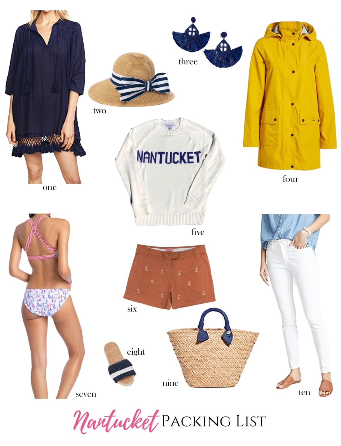 summer packing list for Nantucket, Massachusetts