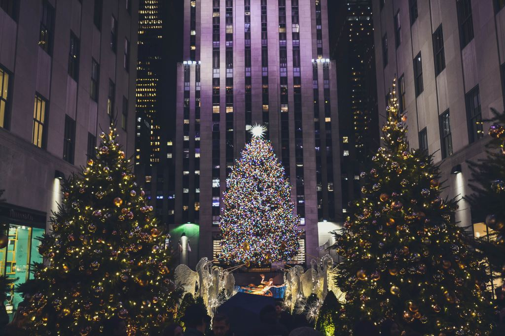 The Rockefeller Center Christmas Tree during the holidays in New York City
