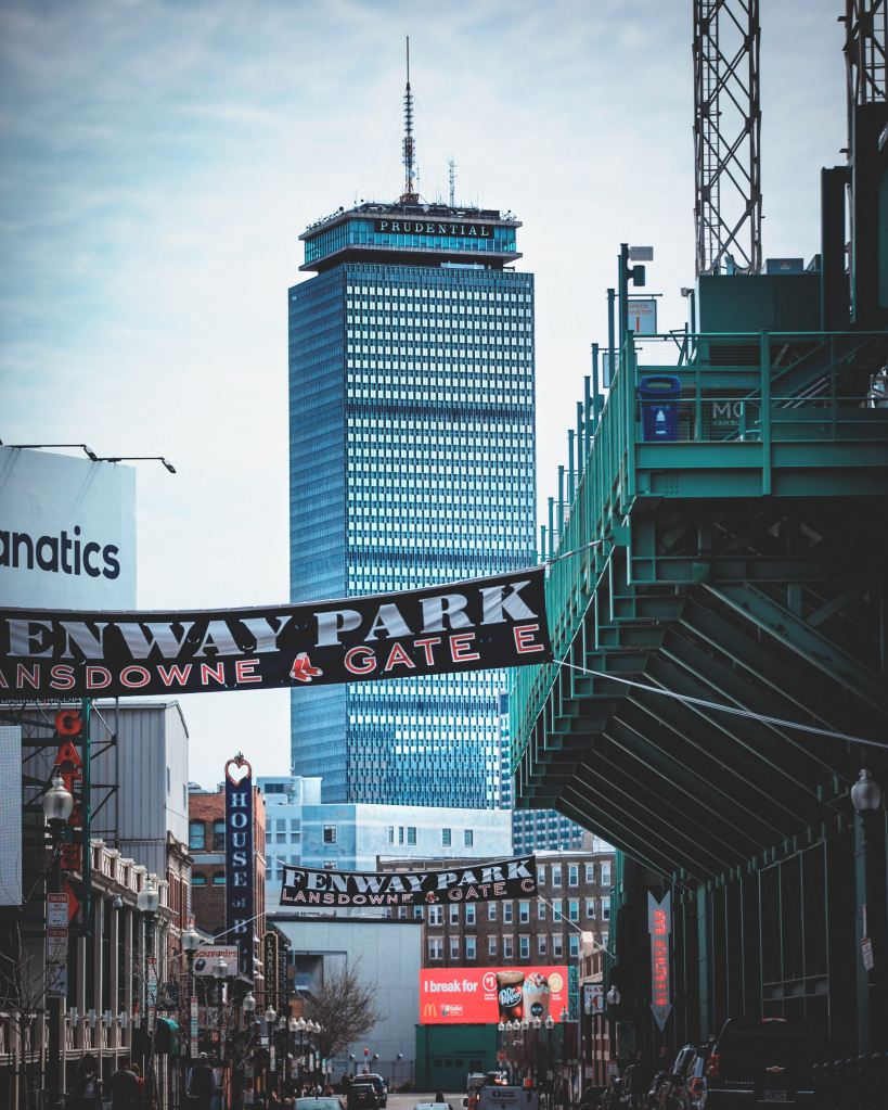 view of the prudential center from Fenway Park in Boston, Massachusetts