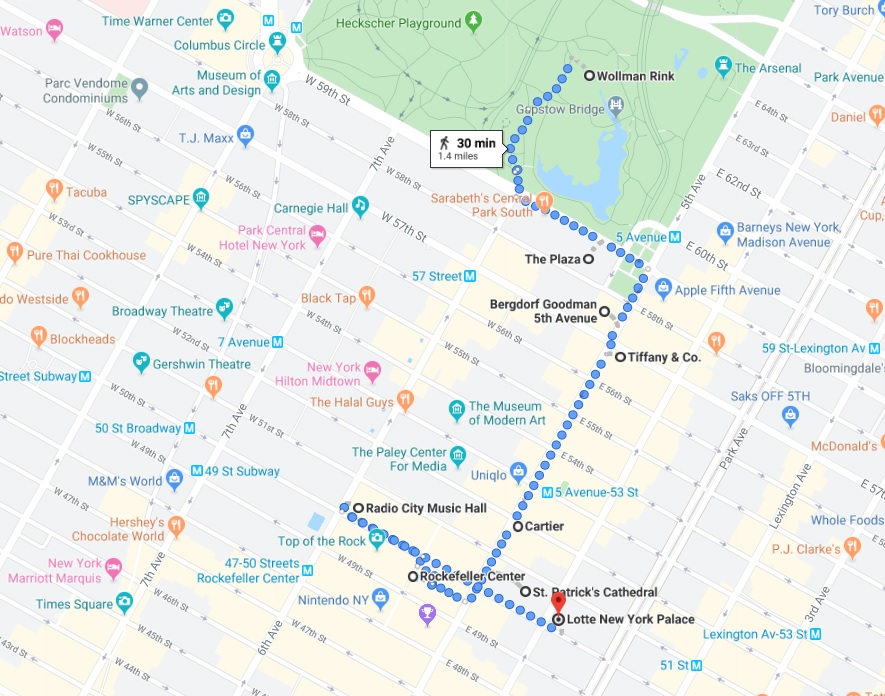 map of how to spend a day in NYC for the holidays