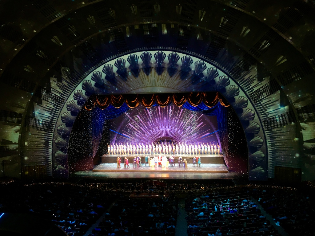 view of the Radio City Music Hall auditorium during the holiday show in NYC
